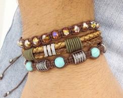Kit pulseiras couro e turquesa