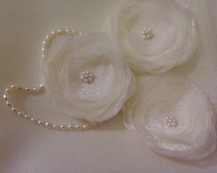 flores organza off-white para noiva