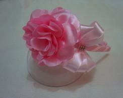 Tiara flor rosa com la�o