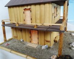 casinha lumin�ria bambu