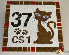 """Placa N�mero De Casa Mosaico """"Gato"""""""