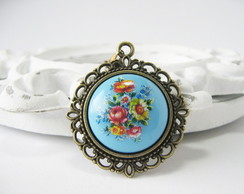 Colar Bouquet De Flores - azul