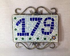 Placa de ferro n�mero em mosaico