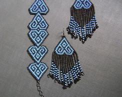 Conjunto pulseira e brincos azul