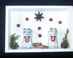 Quadro dos gatinhos Maneki e Neko