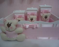 Kit Higiene Beb� Ursa Rosa & Branco