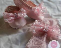 Sapatilha rosa...detalhes em p�rolas!!!