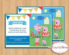 Convite Peppa Pig e George