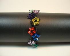 Pulseira de cristais Swarovski coloridos