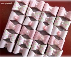 Lacinho Tecido Floral / Xadrez Rosa Beb�