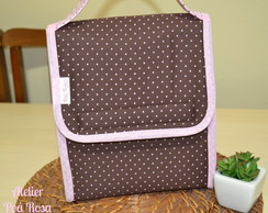 Lunch Bag T�rmica - Marrom Com Rosa