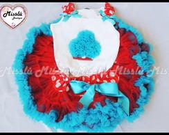 Conjunto de Tutu Vermelho e azul