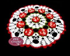 Toalha de mesa de croche com flores
