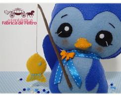 Pinguim Pescador - Boneco / Topo de Bolo