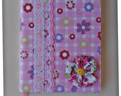 Caderno decorado em tecido