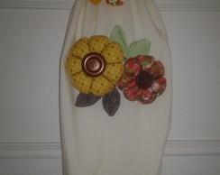 Puxa saco flores em tecido 100% algod�o