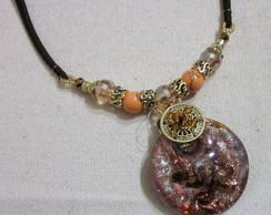 Medalh�o Murano com Cord�o e Cristais