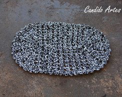 Tapete De Croch� Malha Oval preto branco