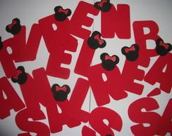 Letras com apliques do Mickey/Minie