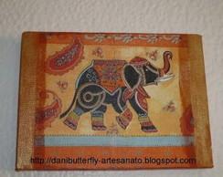 """Decoupage em tela """" Elefante Indiano I """""""