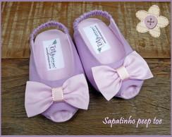 Sapatinho peep toe lil�s e rosa