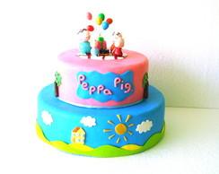 Bolo Cenog Peppa Pig + Topo de Bolo
