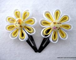 Par de Flores Amarelo com Branco