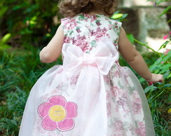 Vestido Infantil de Princesa Floral