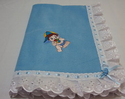 Manta beb� azul menino e bordado ingles