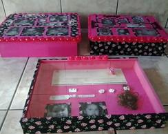 Kit caixas organizadoras e quadro lembra