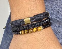 Kit 3 pulseiras couro onix e cristais