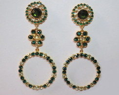 brinco dourado argola esmeralda