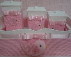 Kit Higiene Beb� Passarinho Rosa