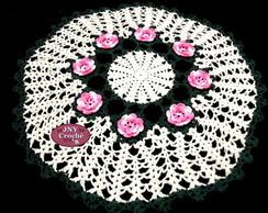 Toalha de mesa de croche com flores *QDE