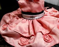 Vestido festa rosa e marron com p�rolas!