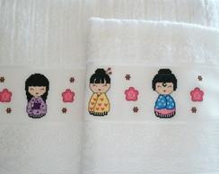 Toalhas de banho e rosto kokeshi