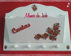 Chaveiro e Porta Cartas Branco com flor