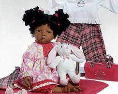 Boneca Beb� tipo Reborn Afro c/ Enxoval