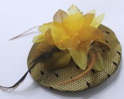 Casquete Cetim, Po� e, Flor em Dourado