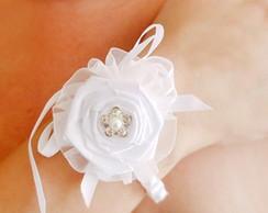 Pulseira corsage noiva de p�rolas e flor