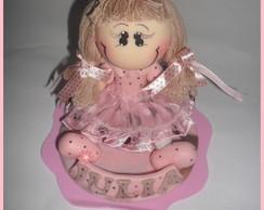 Topo de bolo marrom e rosa ,biscuit