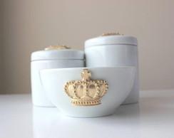 Kit Higiene Porcelana Coroa Dourada