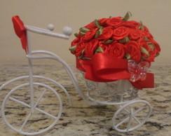 Mini Bicicleta com flores Vermelha