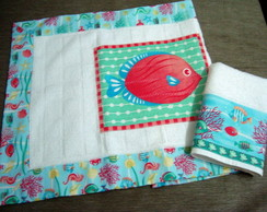 Conjunto Tapete e Toalha: Peixes