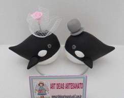 Topo de Bolo Casamento Baleias