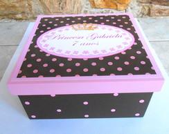 Caixa princesa marrom e rosa