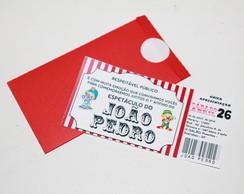 Convite ingresso com envelope