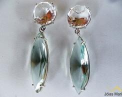 Brinco de Cristal, Top�zio azul em prata