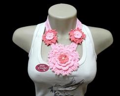 Colar de Croch� Gard�nia tons de rosa