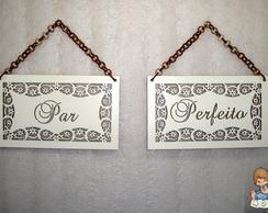 """Placas """"Par Perfeito"""" com corrente"""